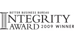 Better Business Bureau Integrity Award 2009 Winner